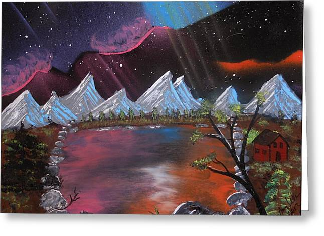 Mountain Cabin Mixed Media Greeting Cards - Aurora Borilas Greeting Card by Amy LeVine