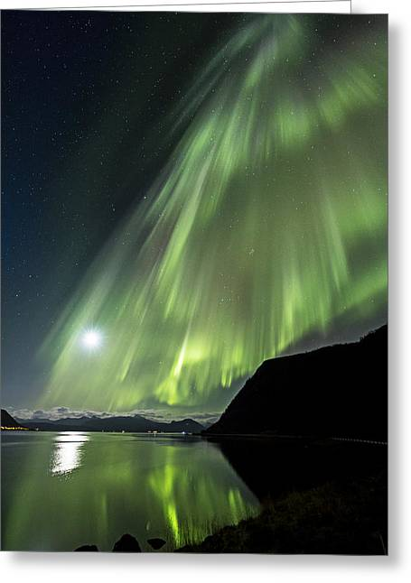 Norway Beach Greeting Cards - Aurora flow Greeting Card by Frank Olsen