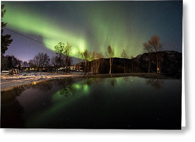 Norway Beach Greeting Cards - Aurora from the car hood Greeting Card by Frank Olsen