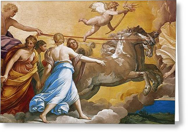 The Horse Greeting Cards - Aurora Greeting Card by Guido Reni