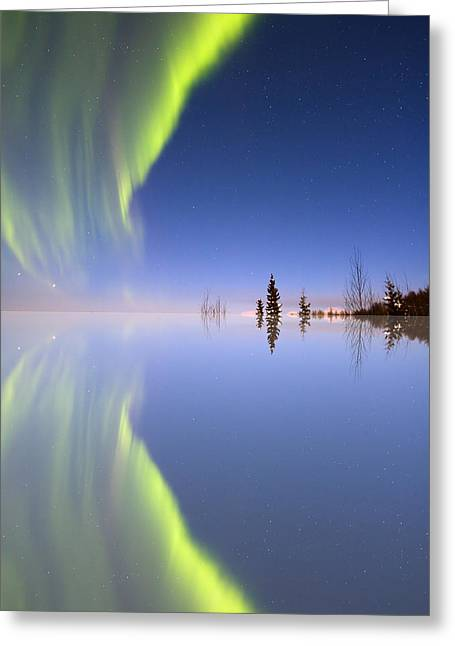 Glass.blue Greeting Cards - Aurora Mirrored Greeting Card by Ed Boudreau
