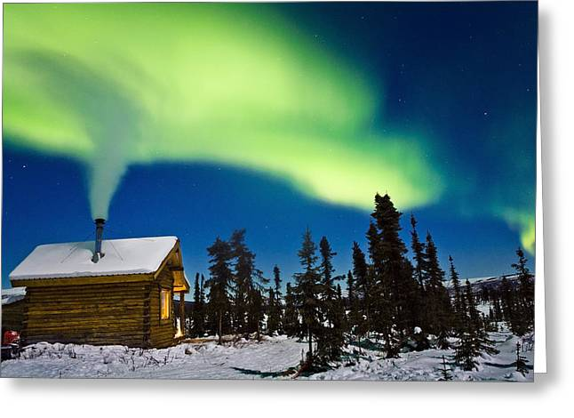 Log Cabin Interiors Greeting Cards - Aurora Over Cabin In The White Mountian Greeting Card by Kevin Smith