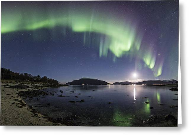 Astrophoto Greeting Cards - Aurora panoramic Greeting Card by Frank Olsen