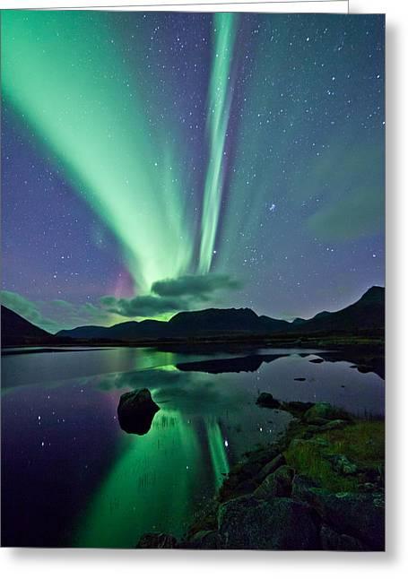Aurora Raising II Greeting Card by Frank Olsen