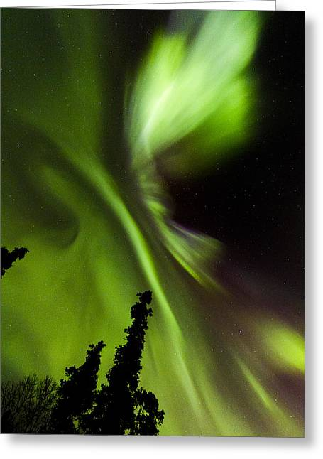 Space Photographs Greeting Cards - Aurora Vortex Greeting Card by Kyle Lavey