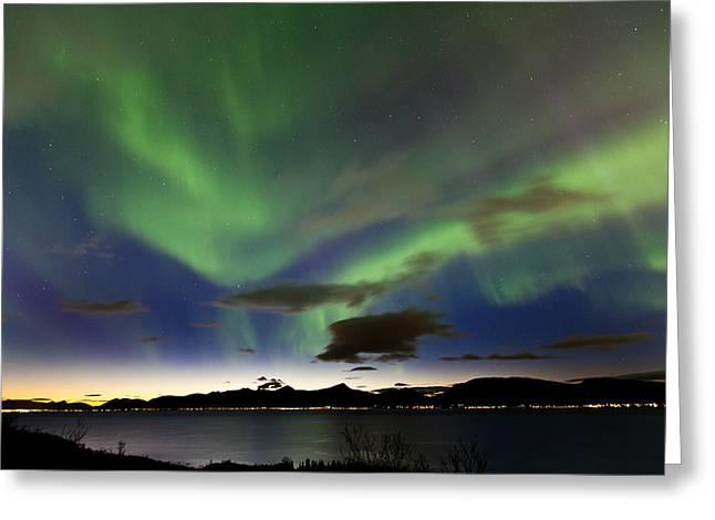 Sortland Greeting Cards - Auroras at Sortland strait Greeting Card by Frank Olsen