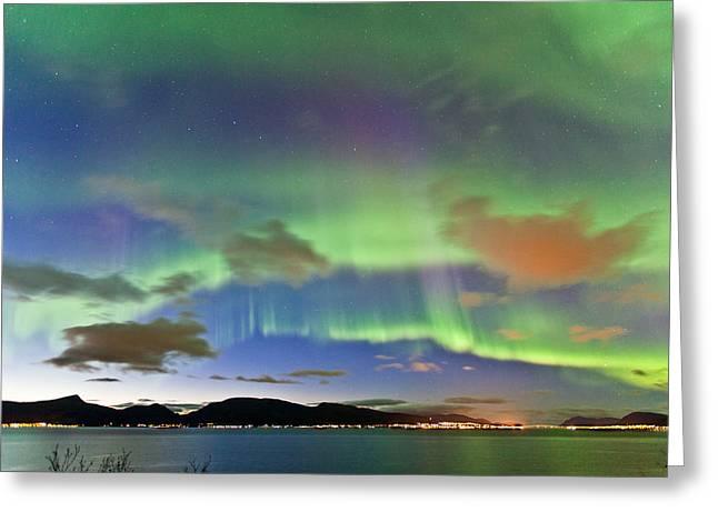 Auroras At Sortland Strait II Greeting Card by Frank Olsen