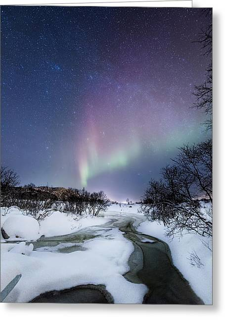 Norway Beach Greeting Cards - Auroras by the creek Greeting Card by Frank Olsen