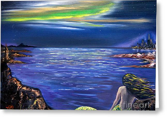Angel Mermaids Ocean Greeting Cards - Auroras Dream Greeting Card by Samira Butt
