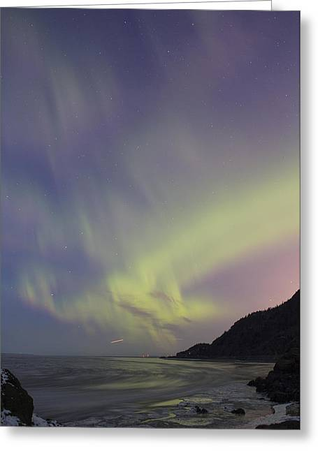 Jet Star Greeting Cards - Auroras over Cook Inlet Greeting Card by Tim Grams