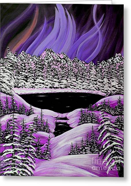Snow And Night Sky Greeting Cards - Auroras Purple Display Greeting Card by Barbara Griffin