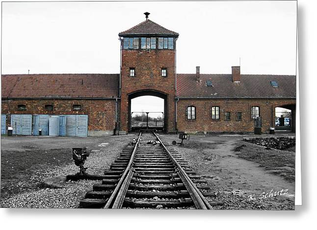Halocaust Greeting Cards - Auschwitz II Birkenau Greeting Card by Kelly Schutz