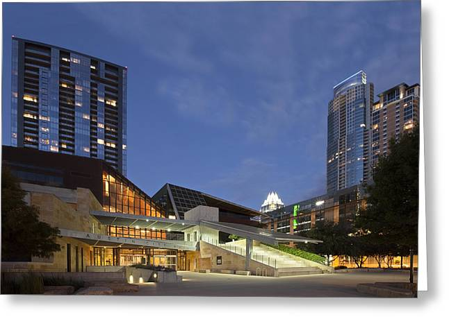 Austin Downtown Greeting Cards - Ausitn City Hall Evening on the Shores of Lady Bird Lake Greeting Card by Rob Greebon