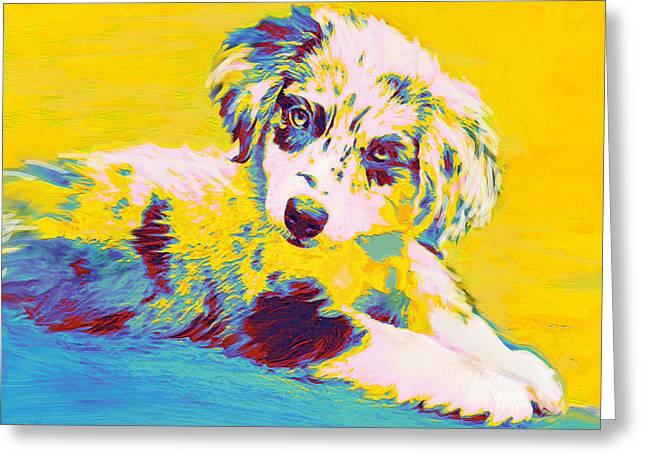 Puppies Digital Art Greeting Cards - Aussie Puppy-yellow Greeting Card by Jane Schnetlage
