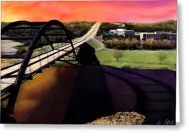 Austin 360 Bridge Greeting Card by Marilyn Hunt