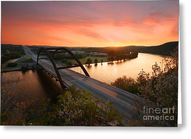 Austin 360 Volcanic Sunset Greeting Card by Randy Smith