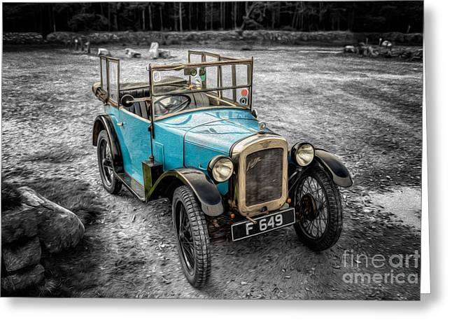 Selective Colouring Greeting Cards - Austin 7 Greeting Card by Adrian Evans