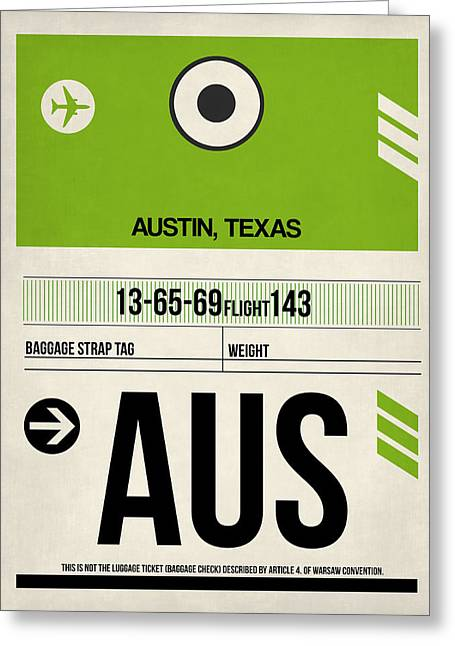 Plane Greeting Cards - Austin Airport Poster 1 Greeting Card by Naxart Studio