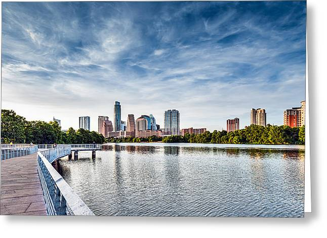 Austin Boardwalk View On Lake Greeting Card by Tod and Cynthia Grubbs