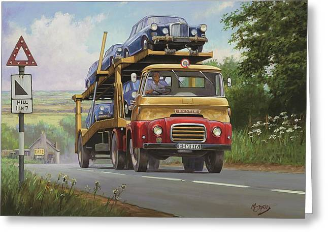 1960 Paintings Greeting Cards - Austin Carrimore transporter Greeting Card by Mike  Jeffries