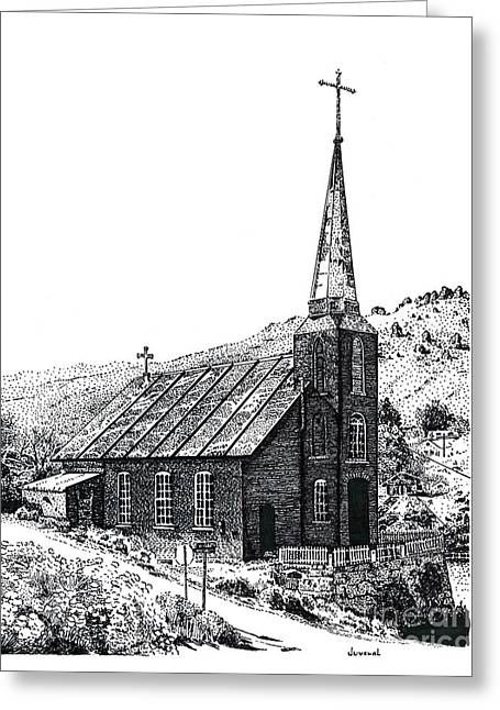 Pointillist Drawings Greeting Cards - Austin Church Greeting Card by Joseph Juvenal