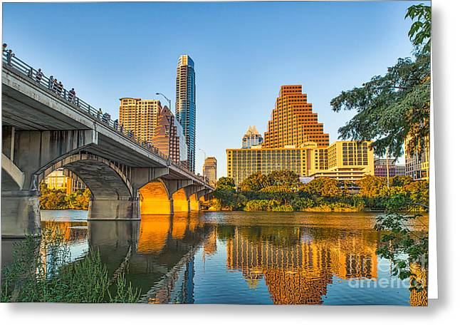 Austin. Bats Greeting Cards - Austin City Glow Greeting Card by Tod and Cynthia Grubbs