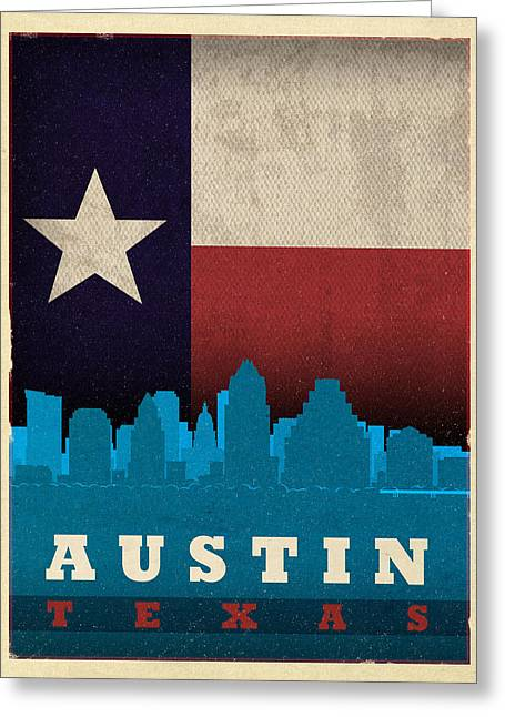 Austin Mixed Media Greeting Cards - Austin City Skyline State Flag Of Texas Art Poster Series 010 Greeting Card by Design Turnpike