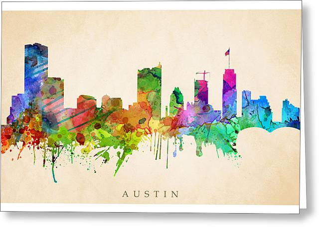 Steve Will Greeting Cards - Austin Cityscape Greeting Card by Steve Will