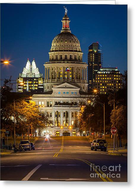Austin Landmarks Greeting Cards - Austin Congress Avenue Greeting Card by Inge Johnsson