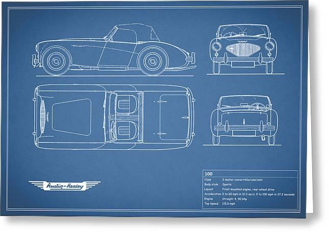 British Classic Cars Greeting Cards - Austin Healey 100 Blueprint Greeting Card by Mark Rogan