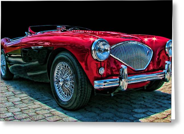 Austin Healey 100m Greeting Card by Samuel Sheats