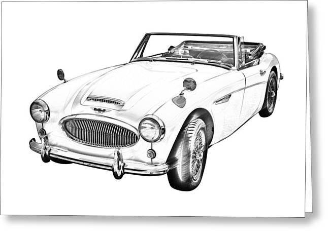 Motor Vehicles Greeting Cards - Austin Healey 300 Sports Car Drawing Greeting Card by Keith Webber Jr