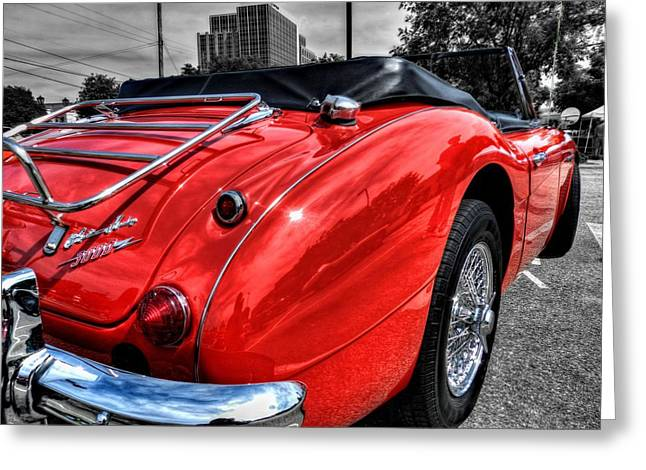 Sports Car Greeting Cards - Austin Healey 3000 001 Greeting Card by Lance Vaughn