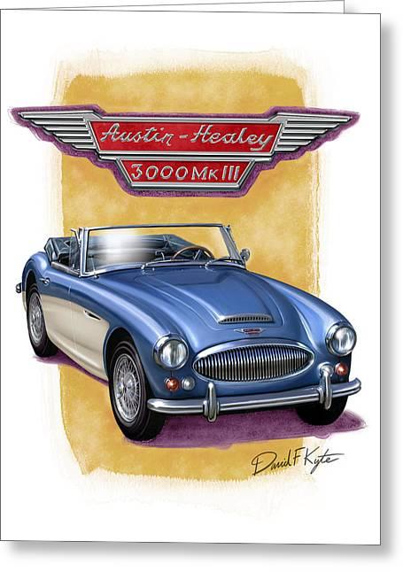 British Car Greeting Cards - Austin Healey 3000 Blue-white Greeting Card by David Kyte
