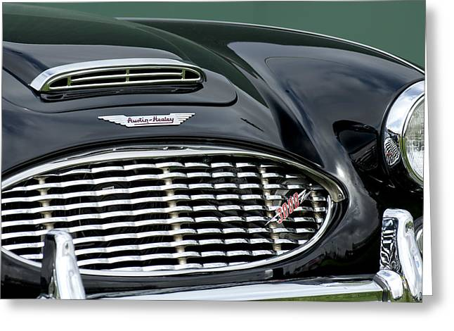 Famous Photographers Greeting Cards - Austin-Healey 3000 Grille Emblem Greeting Card by Jill Reger