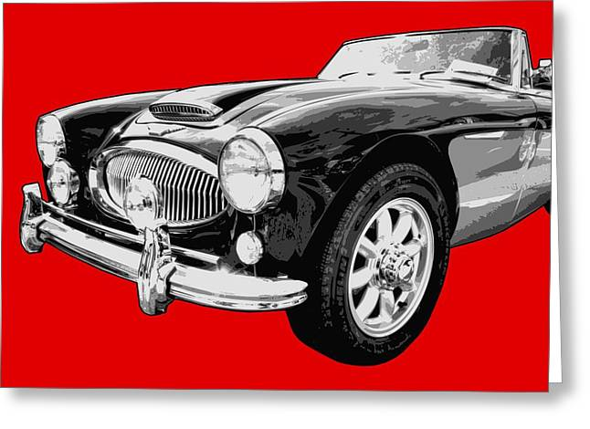Sports Car Greeting Cards - Austin Healey 3000 On Red  Greeting Card by Lance Vaughn