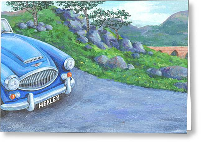 Driving Greeting Cards - Austin Healey Greeting Card by Peter Adderley