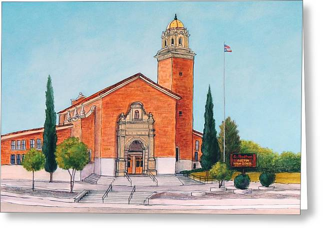 Brick Schools Paintings Greeting Cards - Austin High School Greeting Card by Candy Mayer