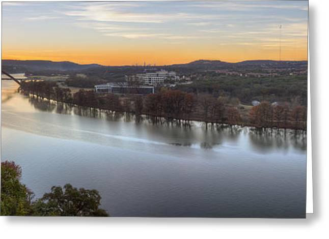 360 Bridge Greeting Cards - Austin Images - 360 Bridge Sunrise Panorama Greeting Card by Rob Greebon