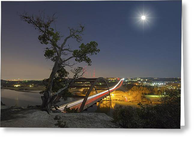 Austin At Night Greeting Cards - Austin Images - Full Moon Setting over the 360 Bridge 2 Greeting Card by Rob Greebon
