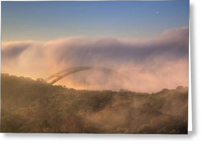 360 Bridge Greeting Cards - Austin Images - Pennybacker Bridge in Morning Fog 2 Greeting Card by Rob Greebon