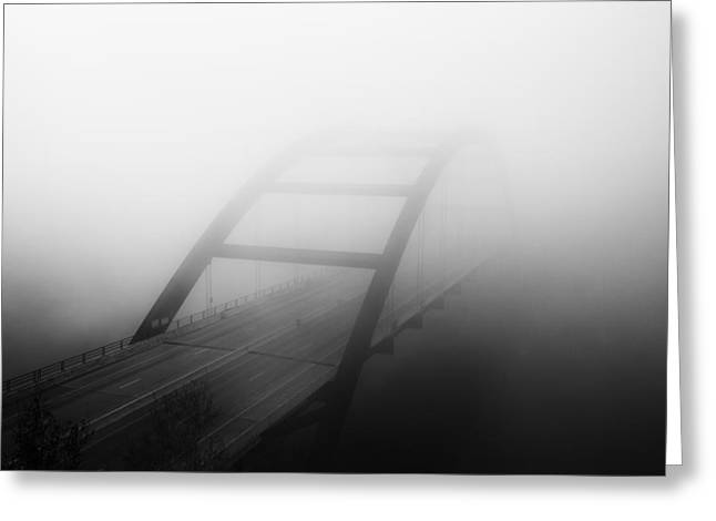 Austin 360 Greeting Cards - Austin Images - Pennybacker Bridge in Morning Fog 4 black and wh Greeting Card by Rob Greebon