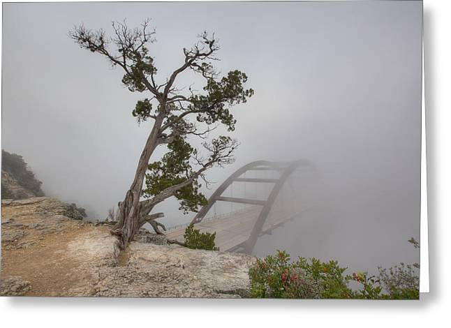 Austin 360 Greeting Cards - Austin Images - Pennybacker Bridge in Morning Fog 9 Greeting Card by Rob Greebon