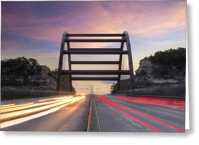 Texas Bridge Greeting Cards - Austin Images - Pennybacker Bridge looking Northeast Greeting Card by Rob Greebon