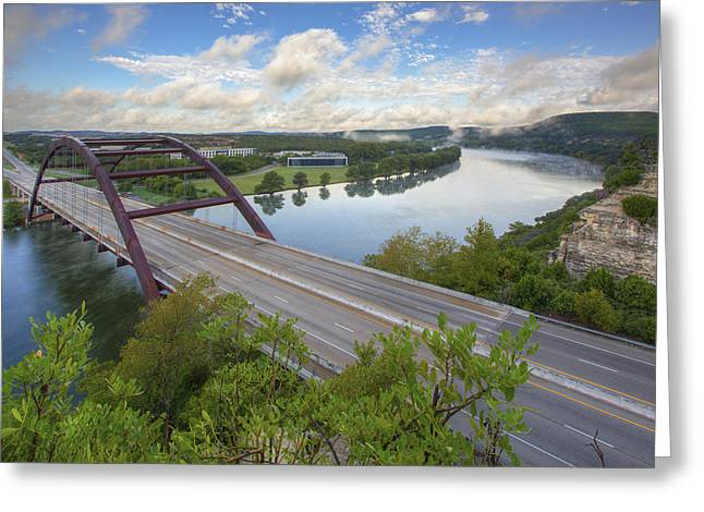 Texas Bridge Greeting Cards - Austin Images - Pennybacker Bridge looking West an hour after su Greeting Card by Rob Greebon