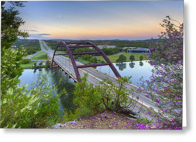 Austin Tx Greeting Cards - Austin Images - Pennybacker Bridge looking West at Sunrise Greeting Card by Rob Greebon