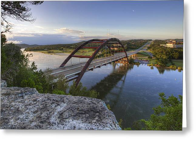 Austin Tx Greeting Cards - Austin Images - Pennybacker Bridge October Sunrise 2 Greeting Card by Rob Greebon