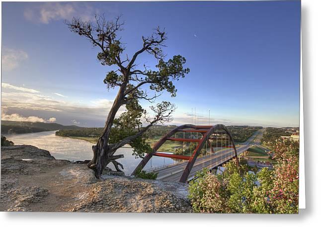 Austin 360 Bridge Greeting Cards - Austin Images - Pennybacker Bridge October Sunrise Greeting Card by Rob Greebon