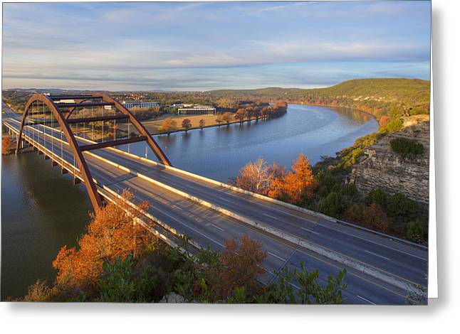 Austin 360 Bridge Greeting Cards - Austin Images - Pennybacker Bridge Sunrise on a December Morning Greeting Card by Rob Greebon