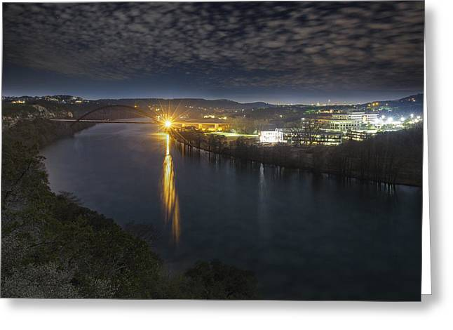 Austin At Night Greeting Cards - The 360 Bridge and Austin Texas Lit by the Full Moon Greeting Card by Rob Greebon